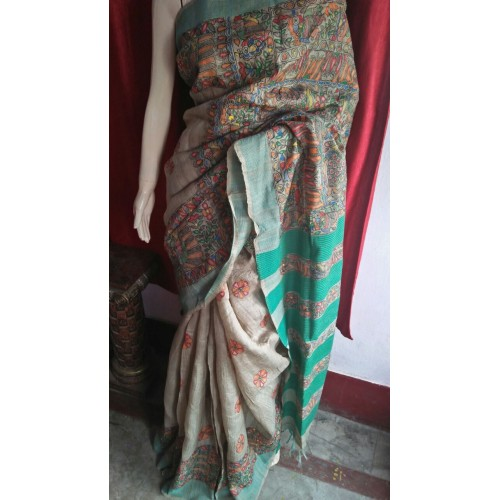 Blended Tussar Madhubani Ghicha Saree With Modhubani Print With Blouse Piece Blended Tussar Over Madhubani Work Saree With Blouse Piece